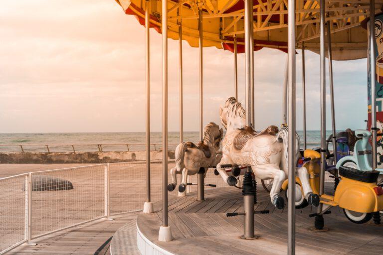 Vintage children's carousel in Tel Aviv port.