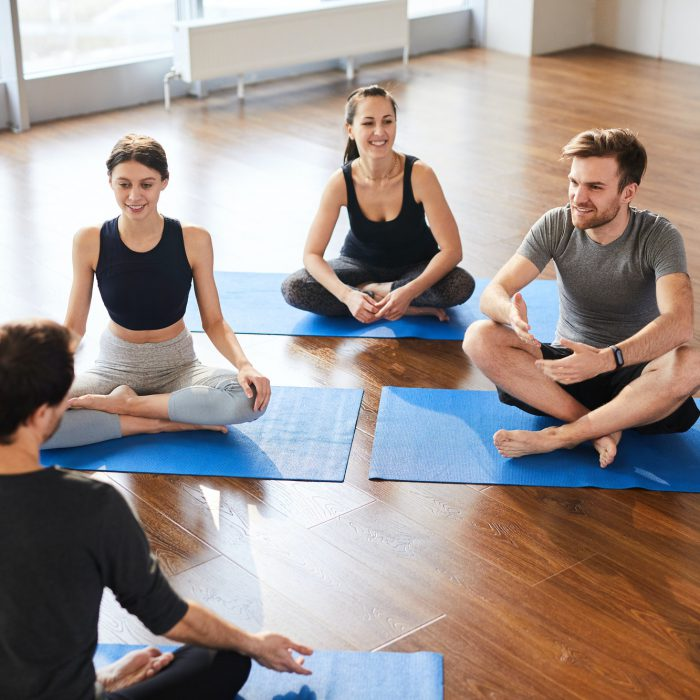 Yoga students at workshop with yogis